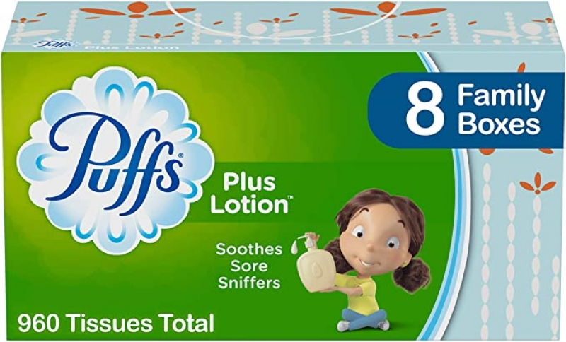 ihocon: Puffs Plus Lotion Facial Tissues, 8 Family Boxes, 120 Tissues per Box (960 Tissues Total) 面紙