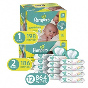 ihocon: Pampers Bundle - Swaddlers Disposable Baby Diapers Sizes 1, 198 Count & 2, 186 Count with Pampers Sensitive Water-Based Baby Wipes, 12 Packs of 72, 864 Count嬰兒尿片及濕巾組