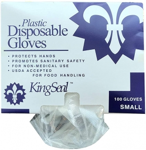 ihocon: KingSeal Embossed Poly Disposable Gloves, Powder-Free - Small, 10 dispensers of 100 Gloves Each (1000 pcs Total) 一次性手扒雞手套