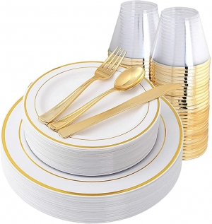 ihocon: IOOOOO Gold Plates & Plastic Silverware & Gold Cups, Disposable Dinnerware Set  150 Pieces 抛棄式/一次性餐盤組