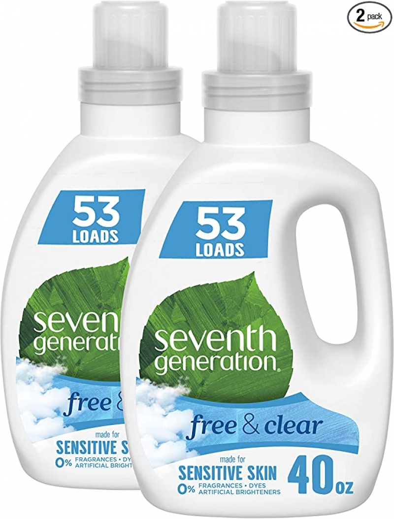 ihocon: Seventh Generation Concentrated Laundry Detergent, Free & Clear Unscented, 40 Oz, Pack of 2 (106 Loads) 濃縮洗衣精
