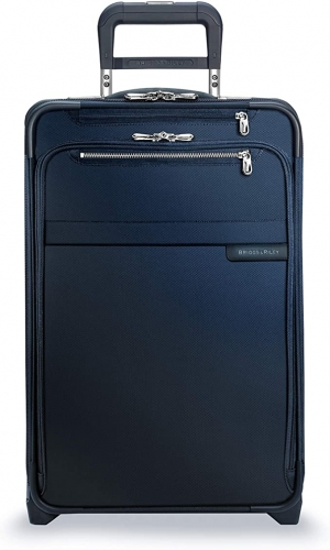 ihocon: [終身保固] Briggs & Riley Baseline-Softside CX Expandable Carry-On Upright Luggage, Navy 行李箱