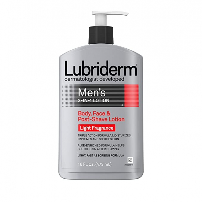 ihocon: Lubriderm Men's 3-In-1 Lotion Enriched with Soothing Aloe for Body and Face, 16 fl. oz 男士三合一臉部/身體乳
