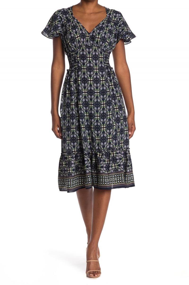ihocon: Max Studio Flutter Sleeve Ruffle Midi Dress 女士洋裝