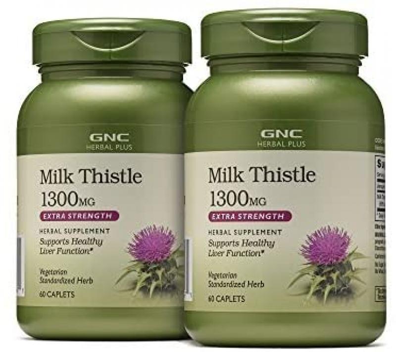 ihocon: [肝臟保養] GNC Herbal Plus Milk Thistle 1300mg, Twin Pack, 60 Caplets Each奶蓟草