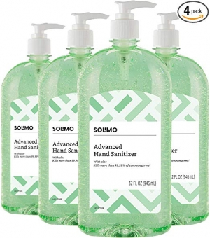 ihocon: [Amazon自家品牌] Amazon Brand Solimo Hand Sanitizer with Vitamin E and Aloe, 32 Fl Oz (Pack of 4)