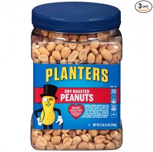 ihocon: Planters Dry Roasted Peanuts, 34.5 oz Jar (Pack of 3) 烤花生米