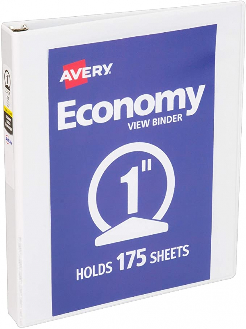 ihocon: Avery 5760 Economy View Binder with 1 Inch Round Ring 活頁夾