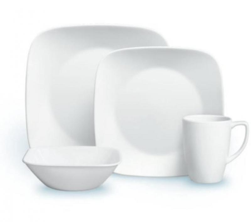 ihocon: Corelle Square Pure White 16-Piece Dinnerware Set16件餐盤組