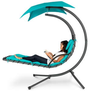ihocon: Best Choice Products Outdoor Hanging Curved Steel Chaise Lounge Chair Swing 懸掛式鞦韆躺椅