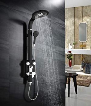 ihocon: SR SUN RISE 49.66'' Multi-Functions Bathroom Rainfall Overhead Shower Panel 多功能淋浴蓮蓬頭含身體按摩噴水系統