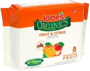 ihocon: Jobe's Organics Fruit & Citrus Tree Fertilizer Spikes, 4-6-6 Time Release Fertilizer, 8 Spikes水果和柑橘樹肥料棒