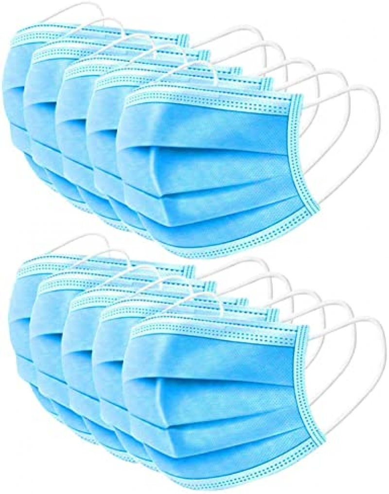 ihocon: WAVE Blue Disposable Face Masks with 3-Layer Safety Shield, Pack of 50 三層一次性口罩