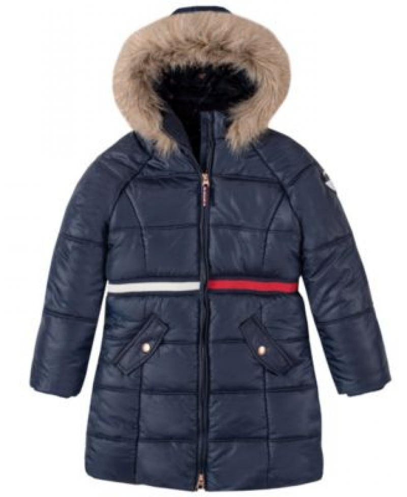 ihocon: Tommy Hilfiger Big Girls Long Puffer Jacket 女童長款連帽夾克-多色可選