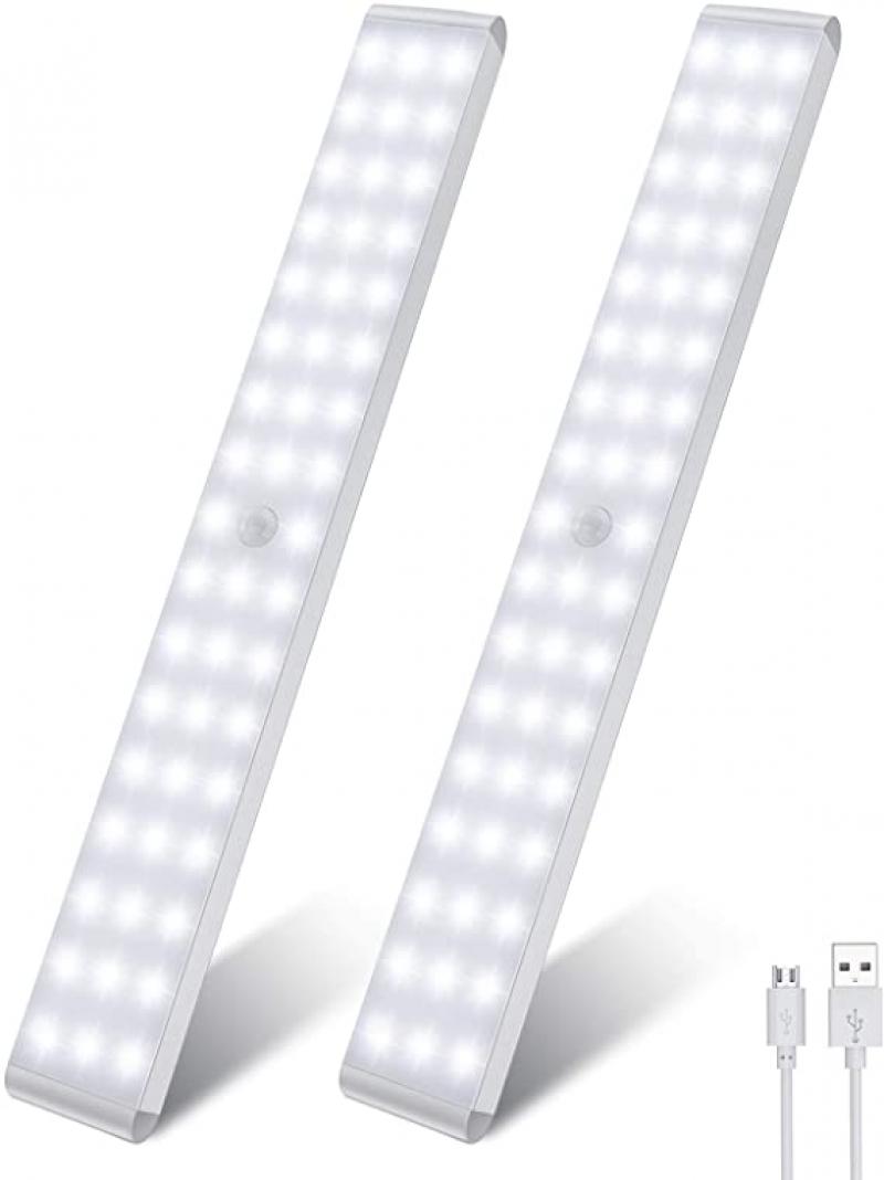 ihocon: LightBiz 50-LED Dimmer USB Rechargeable Motion Sensor Light (2 Packs) 充電式動作感應櫥櫃燈