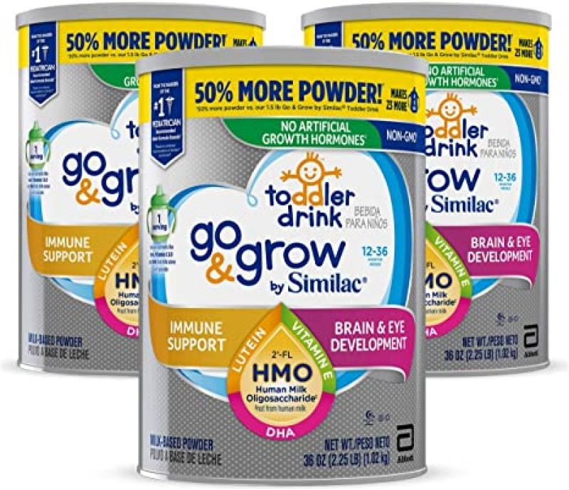 ihocon: Similac Go & Grow Toddler Drink, 3 Cans, 36 oz Each 幼兒牛奶營養飲品