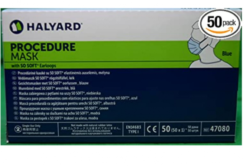 ihocon: Halyard Procedure Mask/Pleat/Earloops 50 Count 醫用口罩