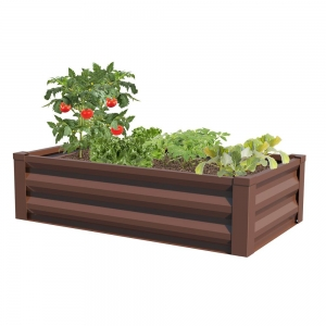 ihocon: Greenes Fence 24 in. W x 48 in. L x 10 in. H Timber Powder-Coated Steel Raised Garden Bed Planter 鋼製花圃-多色可選