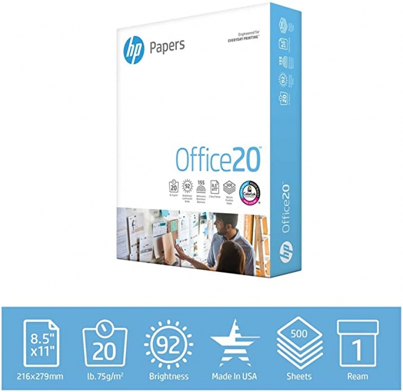 ihocon: HP Printer Paper 8.5x11 Office 20 lb 1 Ream 500 Sheets 打印紙/白紙
