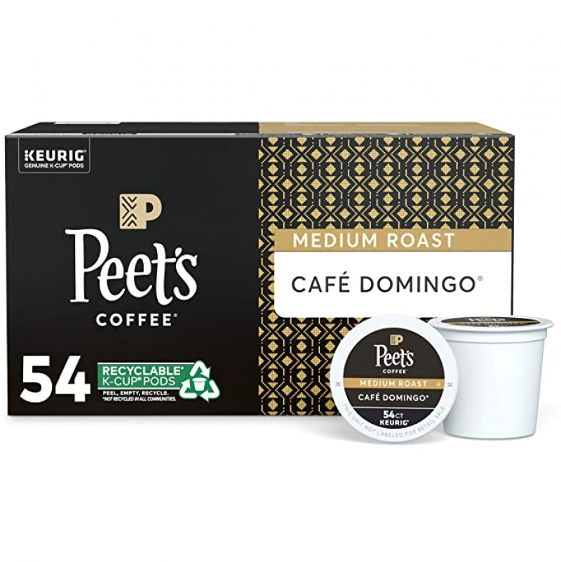 ihocon: Peet's Coffee Café Domingo, Medium Roast, 54 Count Single Serve K-Cup Coffee Pods 咖啡膠囊