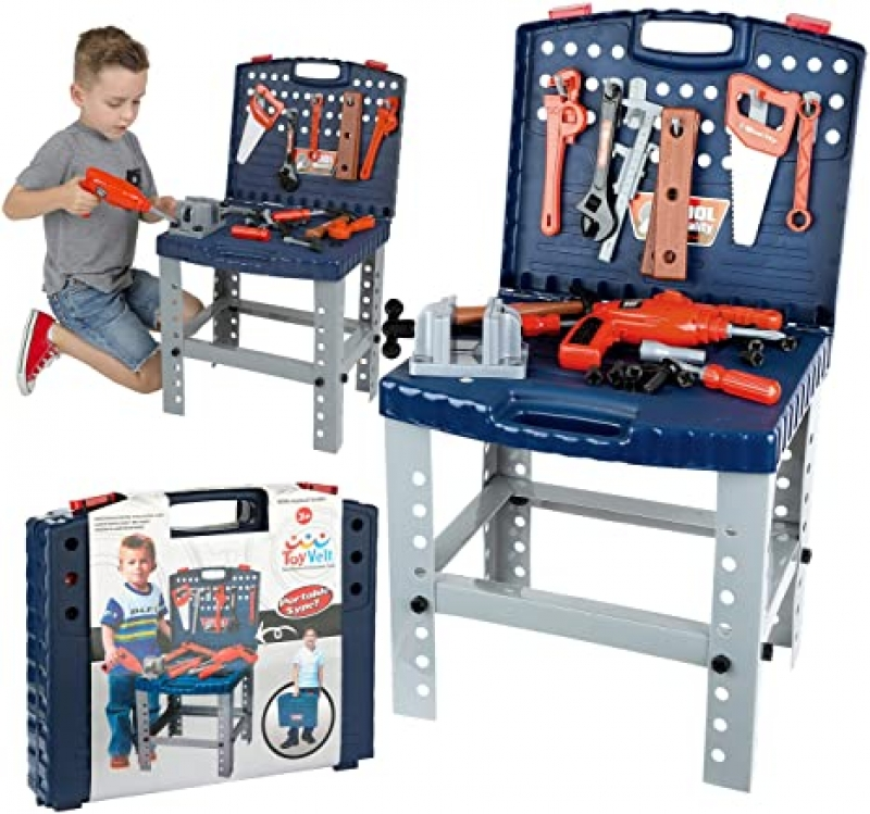 ihocon: ToyVelt Workbench W Realistic Tools & Electric Drill Toy, 68 Piece 兒童玩具工具