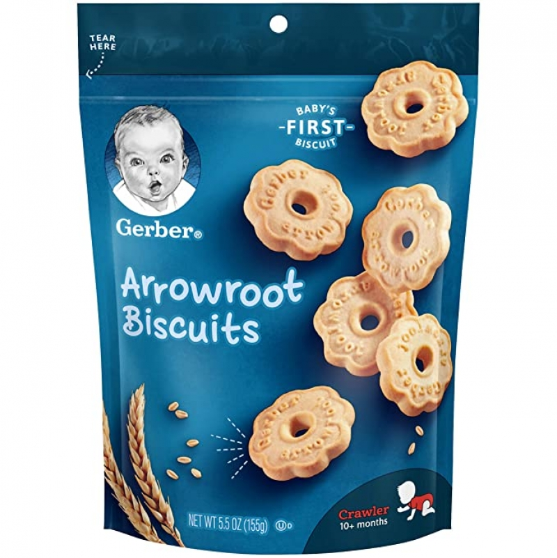 ihocon: Gerber Arrowroot Cookies Pouch, 5.5 Ounce (Pack of 4)幼兒餅乾