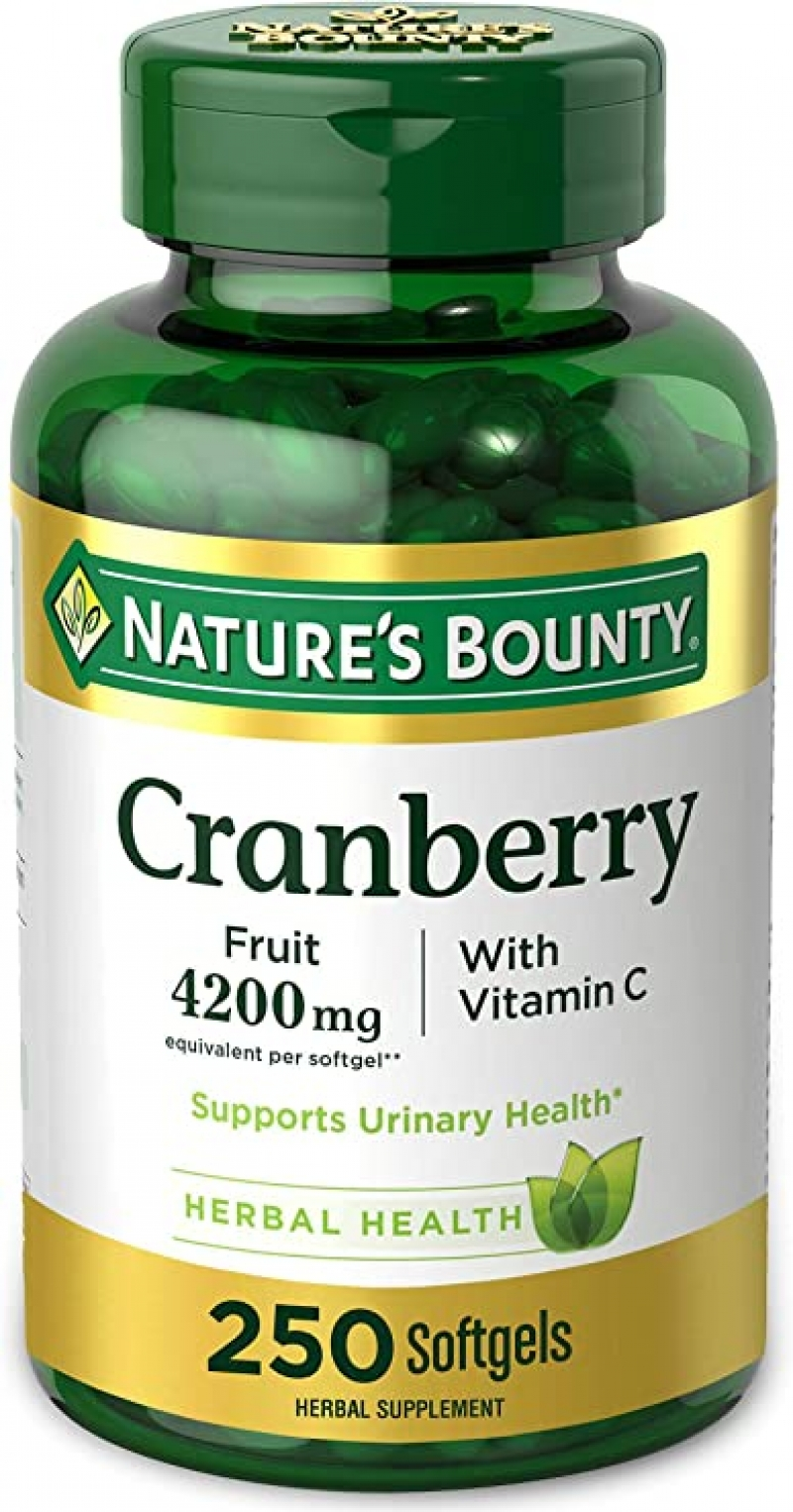 ihocon: Nature's Bounty Cranberry Pills w/ Vitamin C, 250 Softgels 蔓越莓+維他命C