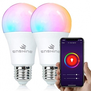 ihocon: Enshine A19 60W Equivalent RGB Color Changing WiFi Smart LED Bulb (Tunable White), Pack of 2 智能彩色燈泡