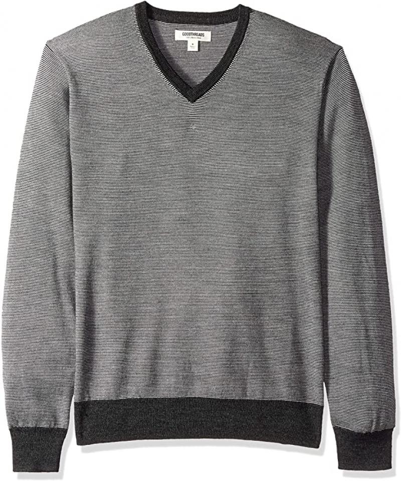 ihocon: [Amazon自家品牌] Goodthreads Men's Lightweight Merino Wool V-Neck Sweater男士100%美麗諾羊毛衫