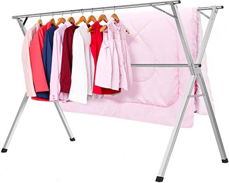 ihocon: Clothes Drying Racks Stainless Steel Laundry Drying Rack Heavy Duty可折疊不銹鋼晾衣架