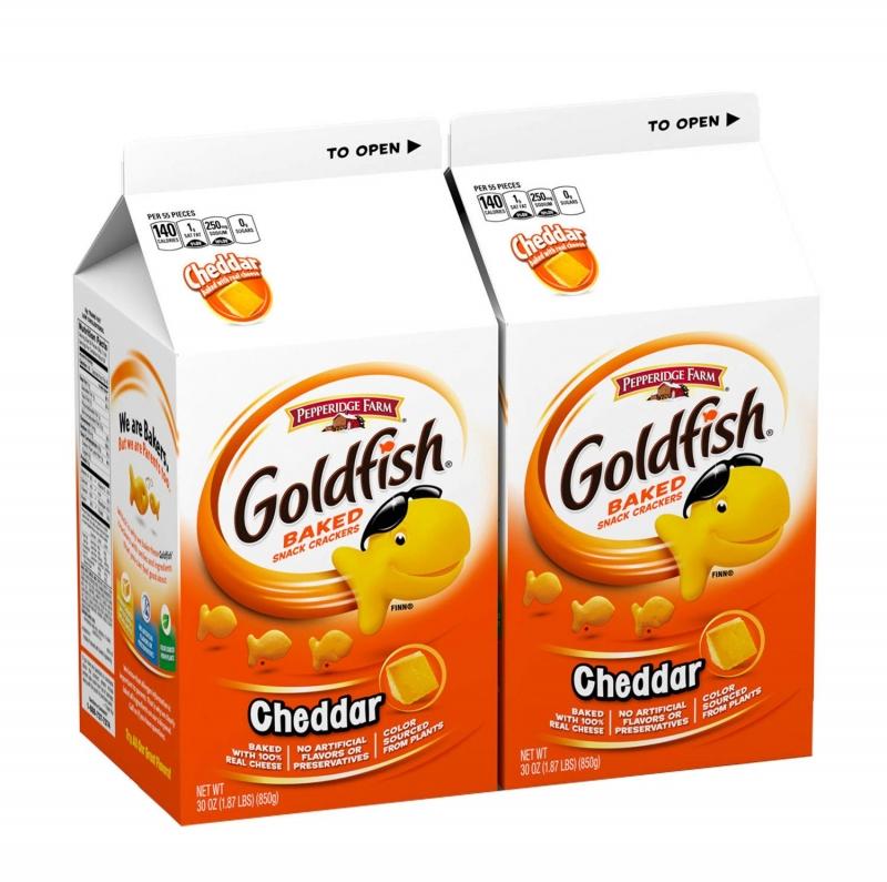 ihocon: Pepperidge Farm Goldfish Cheddar Crackers, 60 Oz. Box, 2-Count 30 Oz. Cartons  小魚餅乾