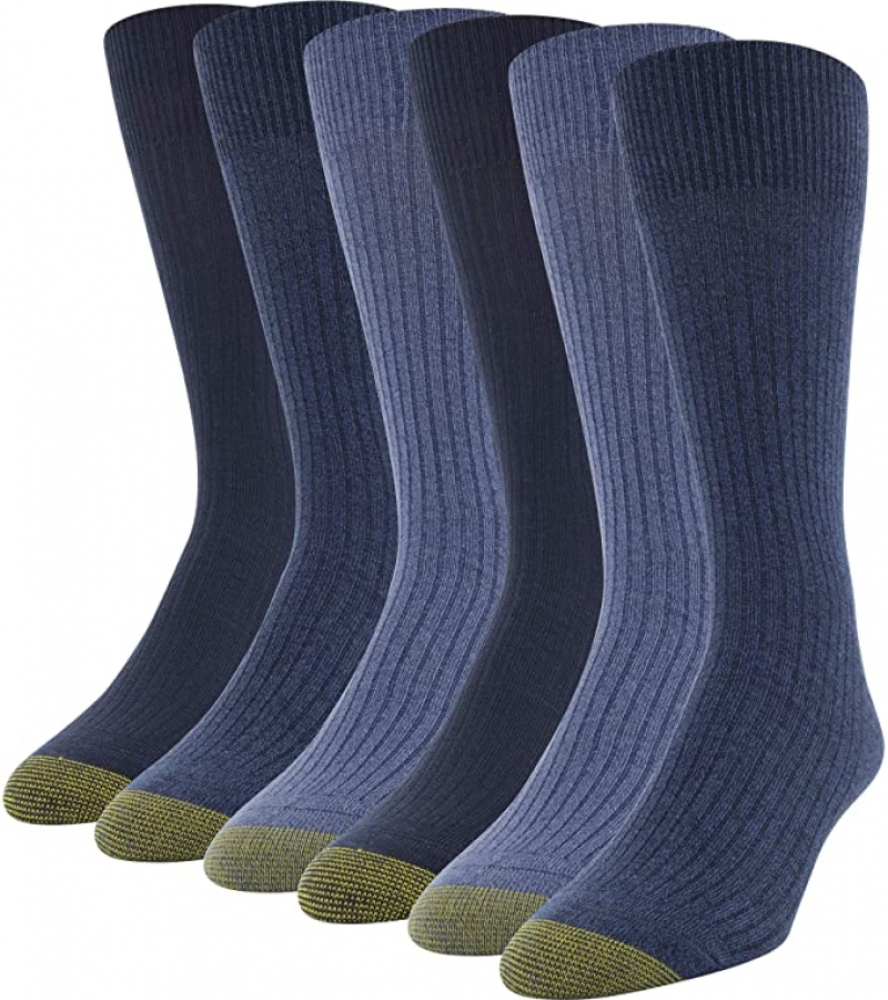 ihocon: Gold Toe Men's Stanton Crew Socks, 6 Pairs 男襪子