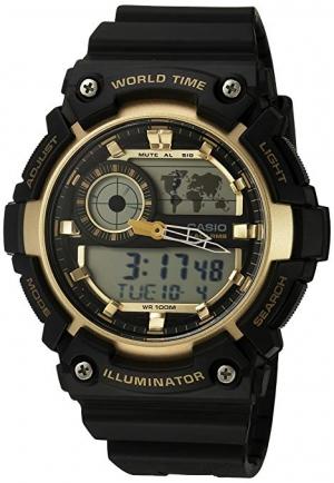 ihocon: Casio Men's 'Super Illuminator' Quartz Resin Casual Watch, Color:Black (Model: AEQ-200W-9AVCF) 卡西歐男錶