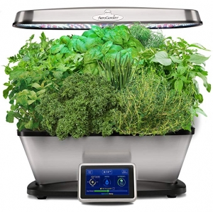 ihocon: AeroGarden Bounty Elite with Gourmet Herb Seed Pod Kit, Stainless 室內植物生長機