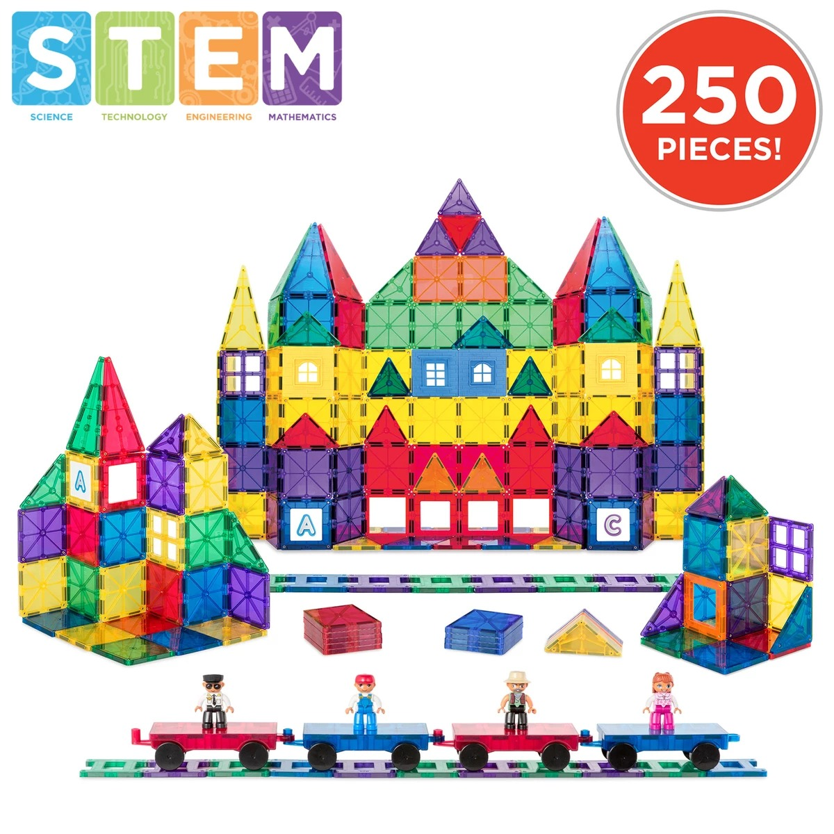 ihocon: Best Choice Products 250-Piece Kids STEM 3D Rainbow Magnetic Building Block Tile Toy Play Set 磁性積木