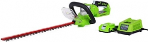 ihocon: Greenworks 22-Inch 24V Cordless Hedge Trimmer, 2.0 AH Battery Included無線修樹枝器, 含電池