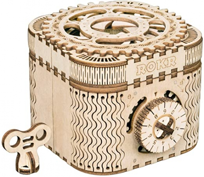 ihocon: ROKR Treasure Box 3D Wooden Puzzle Toy 木製密碼寶盒