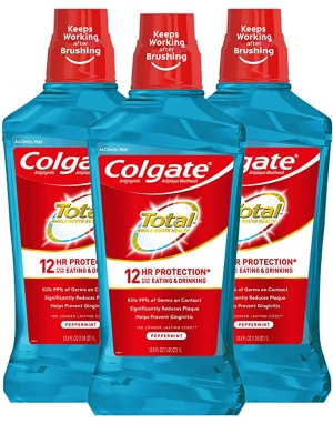 ihocon: Colgate Total Pro-Shield Alcohol Free Mouthwash, Peppermint - 1L, 33.8 fluid ounce (3 Pack) 高露潔無酒精漱口水