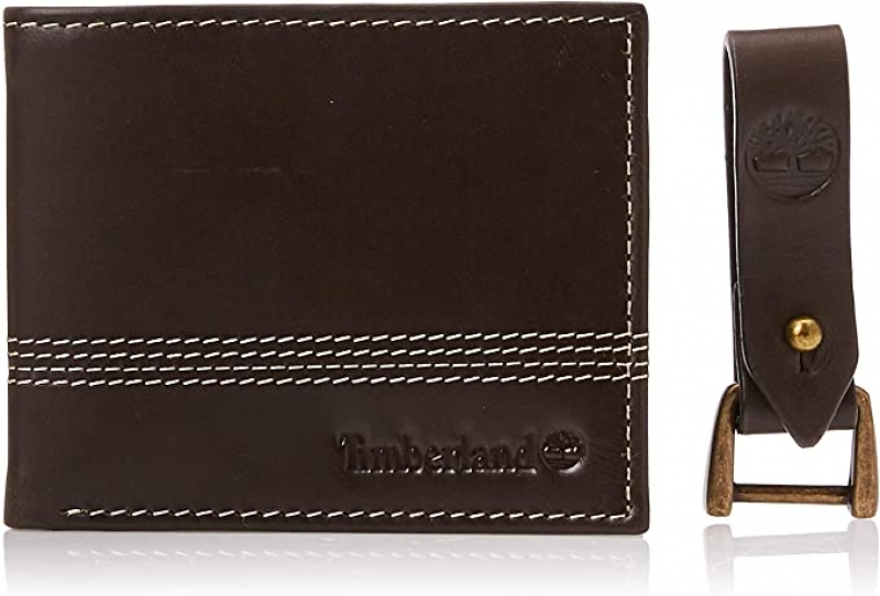 ihocon: Timberland Men's Leather Slimfold Wallet with Matching Fob Gift Set 男士皮夾及鑰匙圈