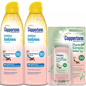 ihocon: Coppertone WaterBabies SPF 50 Sunscreen Lotion Spray + Pure & Simple Baby Mineral SPF 50 Sunscreen Stick Multipack
