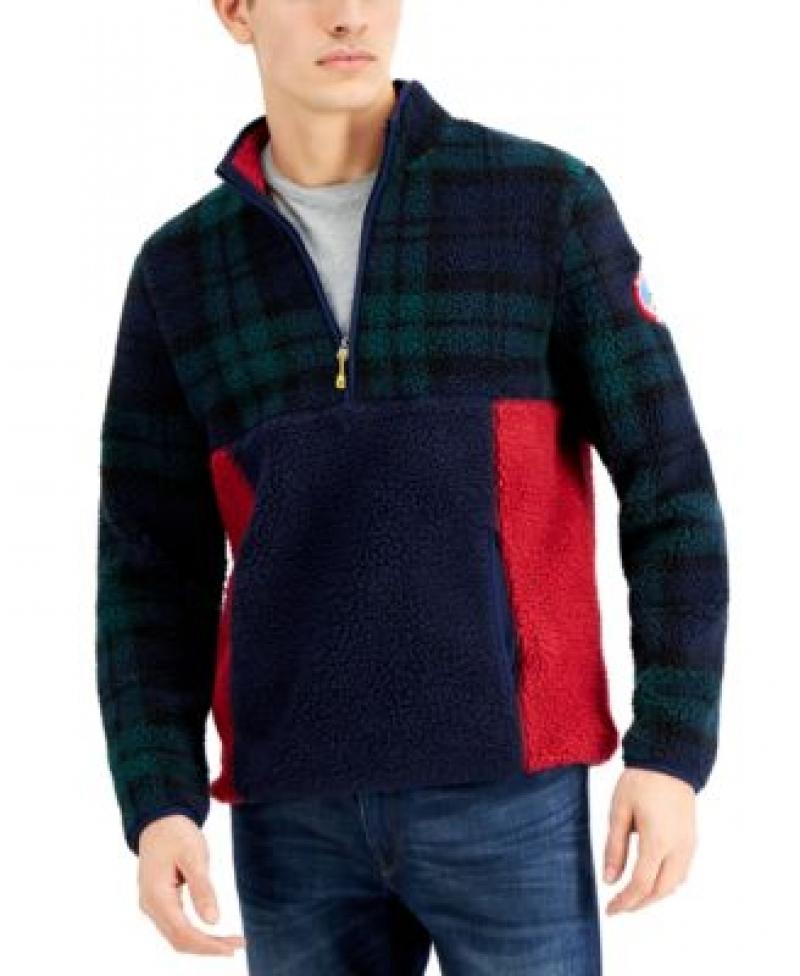 ihocon: Club Room Men's Half-Zip Colorblocked Fleece Pullover 男士長袖衫