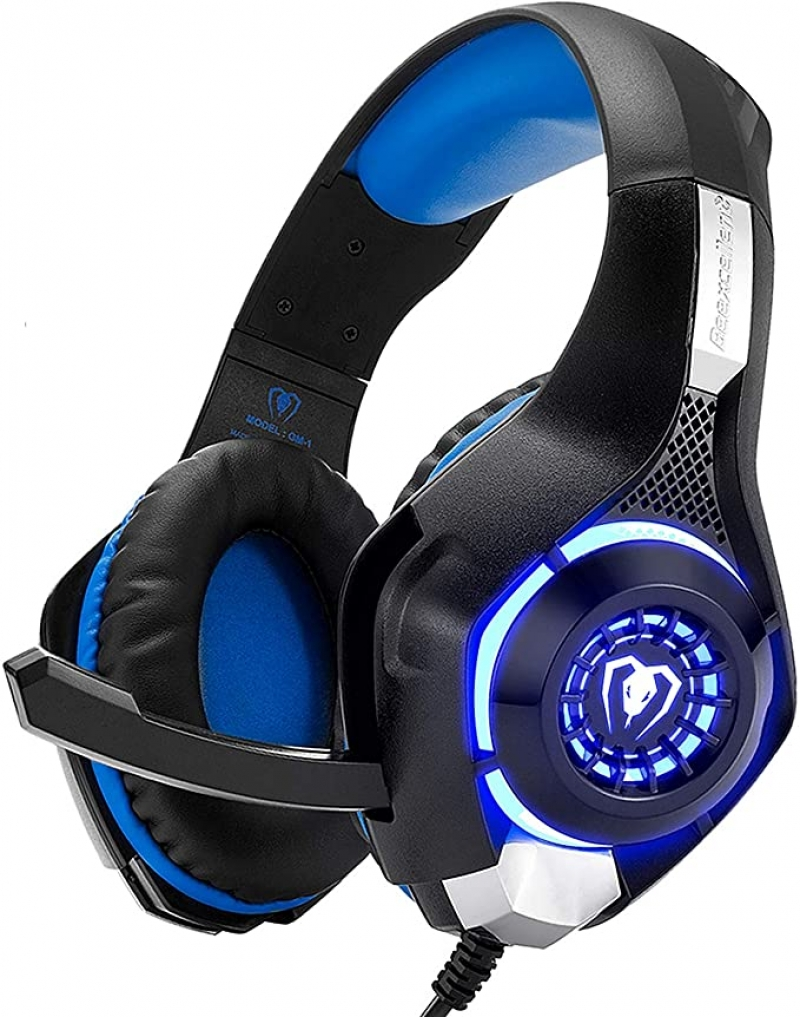 ihocon: Beexcellent Gaming Headset with Crystal Stereo Bass Surround Sound, LED Light & Noise-Isolation Microphone 降噪遊戲耳機