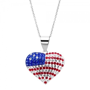 ihocon: Crystaluxe American Flag Heart Pendant with Swarovski Crystals, Sterling Silver 純銀水晶項鍊