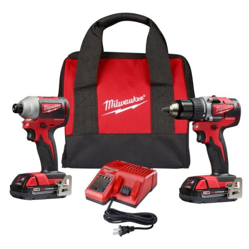 ihocon: Milwaukee M18 18-Volt Lithium-Ion Brushless Cordless Compact Drill/Impact Combo Kit (2-Tool) W/ (2) 2.0Ah Batteries, Charger & Bag 無線工具組