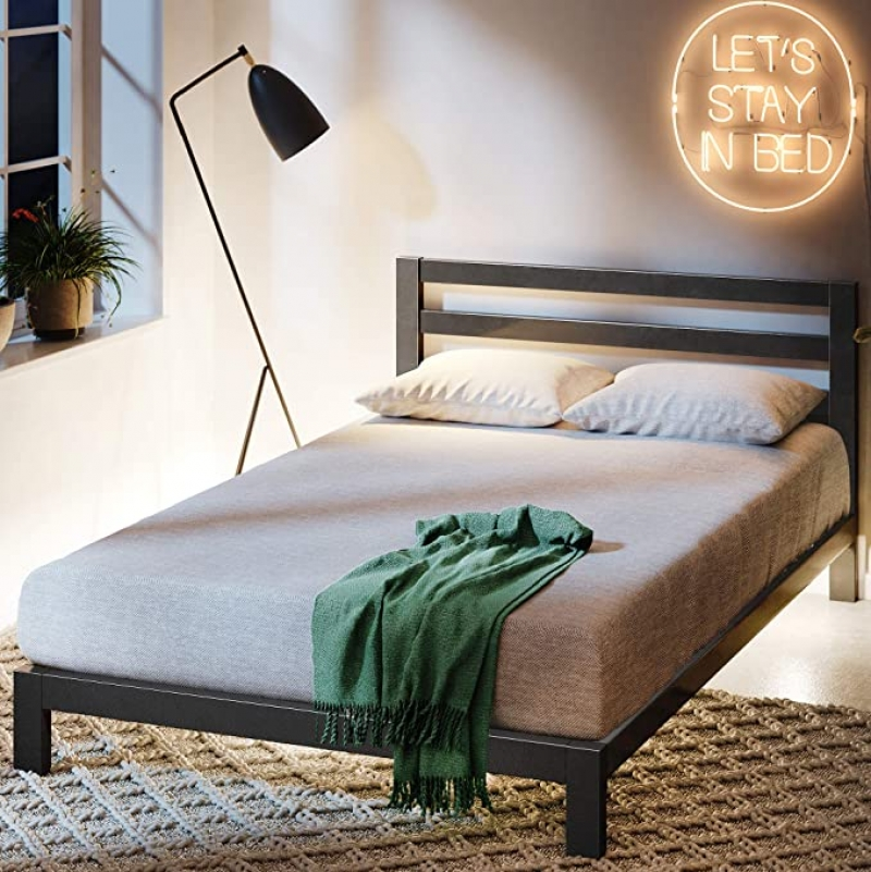 ihocon: Zinus Arnav Modern Studio 10 Inch Platform 2000H Metal Bed Frame with Wooden Slat Support, King 金屬床架