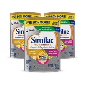 ihocon: Similac Pro-Sensitive Non-GMO Infant Formula with Iron, with 2'-FL HMO, for Immune Support, Baby Formula, Powder, 34.9 oz, 3 Count嬰兒奶粉