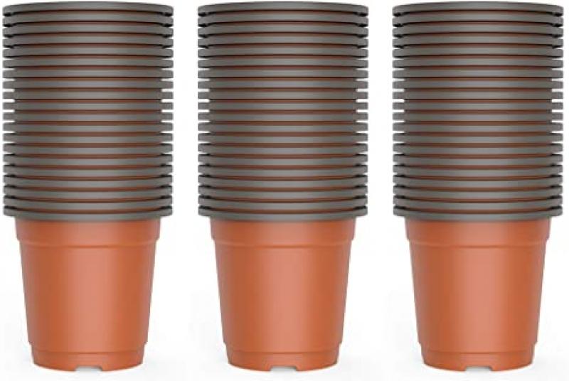 ihocon: WANBAO 4 Inch Planter Nursery Pots, Plastic Starter Pots for Plants Flower Seedling, 60pcs.育苗盆