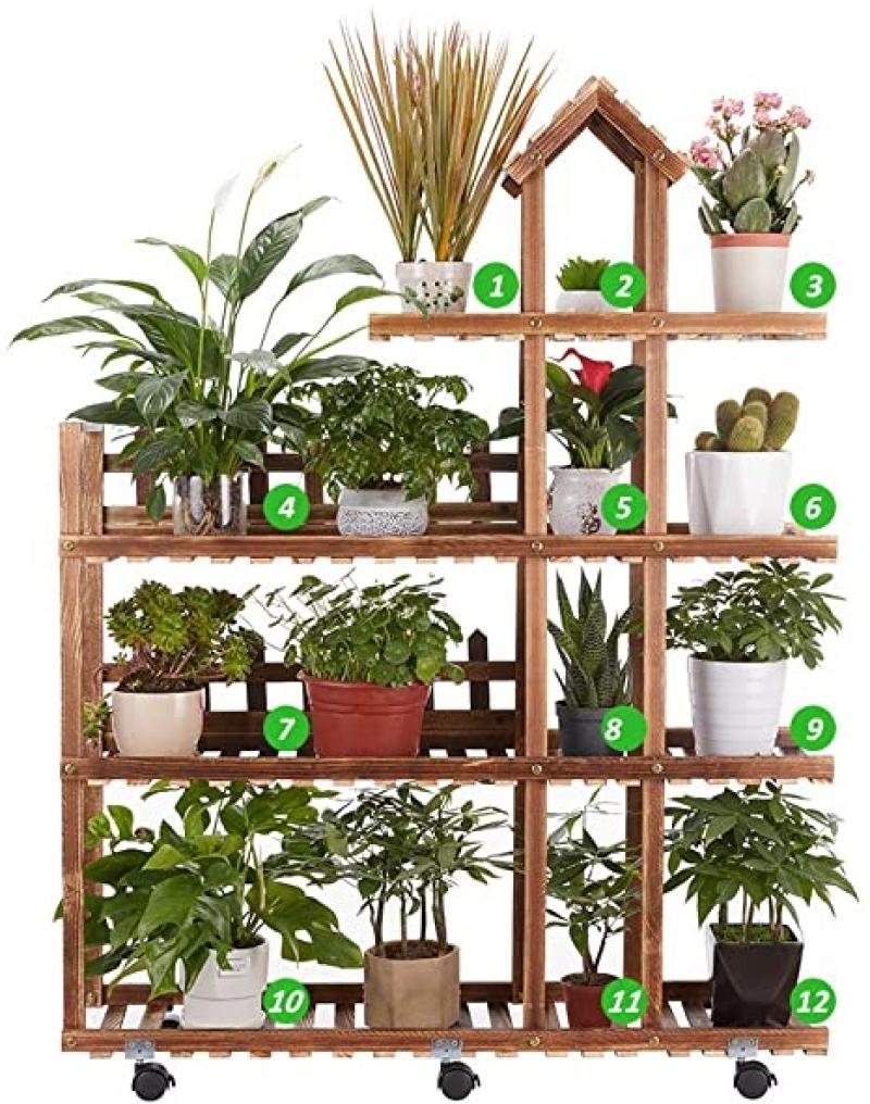 ihocon: Flurff Homezest Wood Plant Stand Indoor Outdoor 木製有輪花架