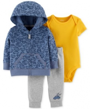 ihocon: Carter's, Carter's Baby Boys 3-Pc. Cotton Hoodie, Bodysuit & Jogger Pants Set 3件式童裝