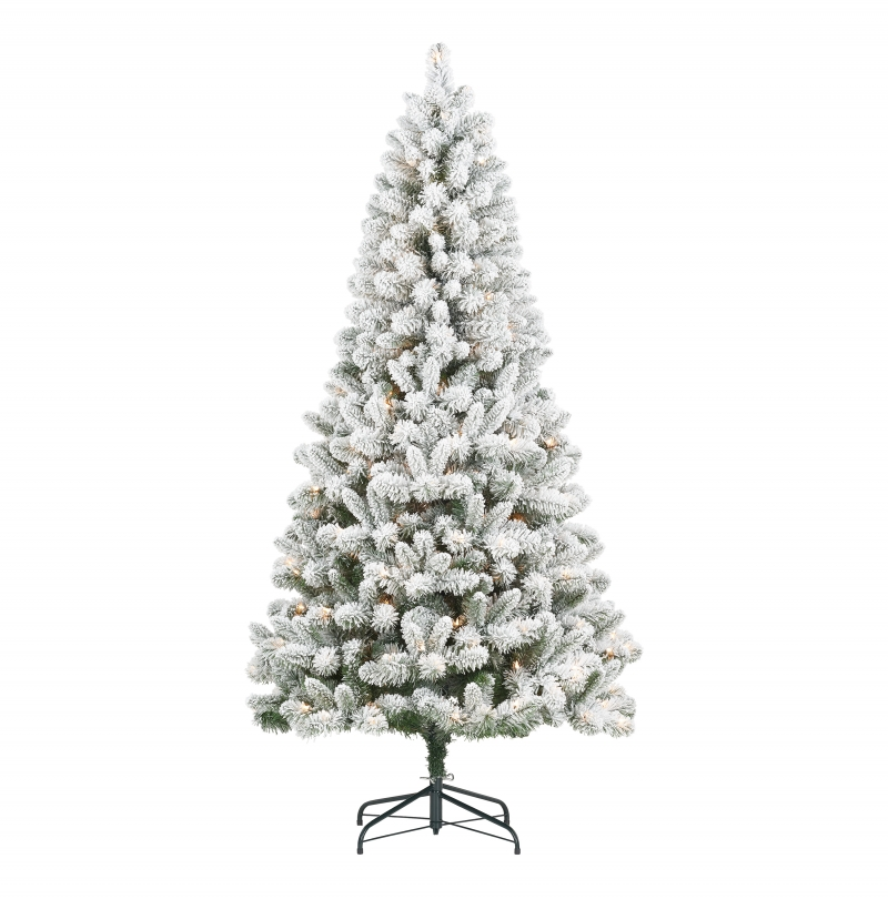 ihocon: Holiday Time Holiday Time Pre-Lit Flocked Frisco Pine Christmas Tree, 6.5', Clear 聖誕樹